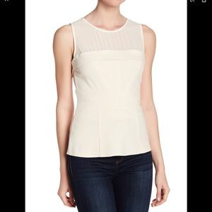 Ro & De Illusion Neck Peplum Top Ivory
